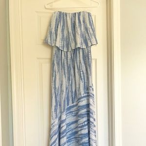 Blue and White Strapless VICI Maxi Dress